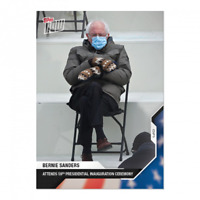 Bernie Sanders 2020 USA Election Topps Now Card #21 Attends Inauguration Mittens