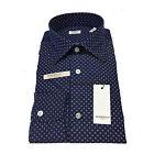 BORRIELLO NAPOLI camicia uomo blu/bianco fantasia 100% cotone MADE IN ITALY slim