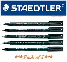 Staedtler Lumocolor Permanent Marker Pen Black Fine Tip Marker Pack of 5