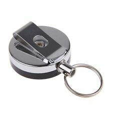 Recoil Retractable Stainless Steel Key Chain ID Card Holder Belt Clip Ski Pass