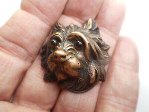 "Brass Shaggy Dog Head Button Amber Glass Eyes & Great Detail 1-3/8"" NP"