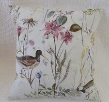 "16"" Cushion Cover Bird Print Pink Green Grey Wetland Wild Flower Handmade 40cm"