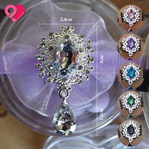 Silver Teardrop Pear Faux Crystal Diamond Rhinestone Vintage Flat Brooch Button