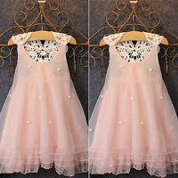Baby Kids Flower Girls Lace Tulle Dress Princess Wedding Party A line Sundress