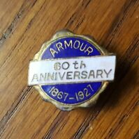 Vintage Armour & Company Meats 60th Anniversary PIN 1867-1927 Chicago HOT DOG