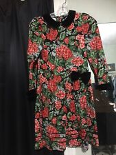 Vintage  PLUM PUDDING LTD Red  Floral W/Black Velvet Trim Girls Dress Size 10