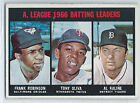 1967 TOPPS A.L. BATTING LEADERS, AL KALINE FRANK ROBINSON, TONY OLIVA #239