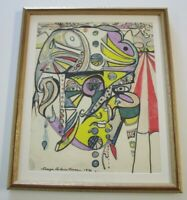 SABARATNAM PAINTING PSYCHEDELIC ABSTRACT PORTRAIT EXPRESSIONISM INDIAN ? SURREAL