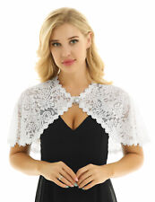 #L Womens Elegant Lace Wraps Shawls Bolero Shrugs Open Front with Pearl Brooch