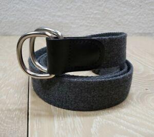 BONOBOS Men's Gray Fabric D-ring Belt Size Large USA Made Leather Trim EUC