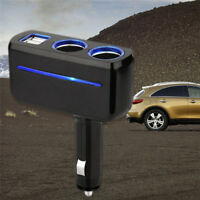 2 Way Socket Splitter Car Cigarette Lighter Charger Adapter 12V Dual USB Black~