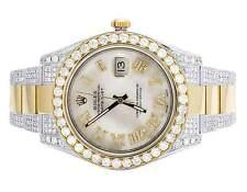 Mens Rolex Datejust II 41MM 116333 18K Two Tone White MOP Diamond Watch 15.75 Ct