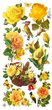 ~ Roses Lily Bird Butterfly Flowers Floral Yellow Craft Scrapbooking Stickers ~