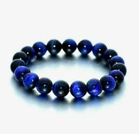 Midnight Blue Dyed Tiger's Eye Beaded Natural 6mm Gemstone Stretch Bracelet