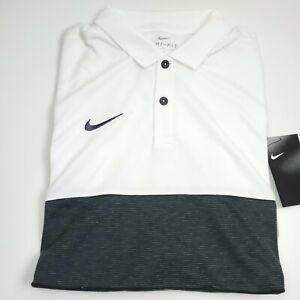 $70 NIKE Dri- Fit Short Sleeve Athletic Polo Shirt Mens Size Medium Gray & White