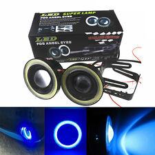 2x Car SUV Angel Eye COB Blue Halo Ring LED DRL Projector Lens Fog HeadLight