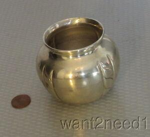 """handcrafted vtg signed ROMANA 900 SILVER URN VASE 2.5"""" pot shaped 4 stripes 84g"""