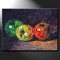Original mosaic artwork painting porcelain three apples still life art GeeBeeArt