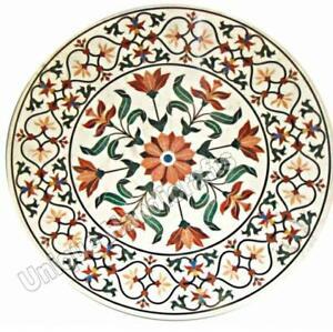 Round Dining & Coffee Table Top Italian Marble Pietradura Handmade Inlay Decor