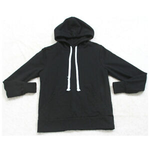 Dip Black Hooded Sweatshirt Woman's Top Solid XS Extra Small Cotton Poly Spandex