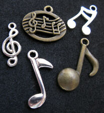 Classical Sheet Music 5 Pc. Silver Pendants Charm Bracelet Treble Clef Notes Lot