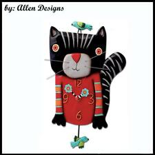 Delightful KNITTY KITTY Cat  Designer Pendulum Wall Clock Allen Designs Gift