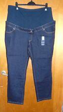 M&S Cotton Rich Straight Maternity Jeans w/Over Bump Panel 22S L29 Indigo BNWT