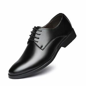 Men's Faux Leather Oxford Round Toe Lace up Style Dress Shoes Block Heel Office
