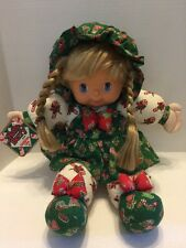"Holly Berry Candy Cane Lane Christmas Plush Blond Haired Doll 17"" Vinyl Cloth"