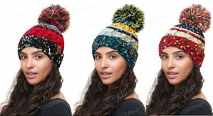 UNISEX ADULTS HEAVY CHUNKY KNITTED SKI HAT WITH LARGE BOBBLE by ROCKJOCK.