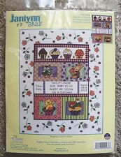 NIP Janlynn Baby Sweet As A Cupcake Birth Announcement Counted Cross Stitch Kit
