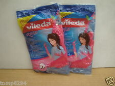 2 PAIRS VILEDA STYLE RUBBER HOUSEHOLD CLEANING GLOVES LARGE 81/2 - 9