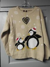 """New Womens Size L Club L Beige Penguin """"Ugly"""" Christmas Sweater"""