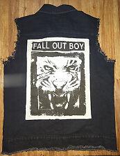 RARE Fall Out Boy Men's Large Rock Jean Denim Jacket Vest Distressed Lion 2014