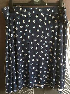 TU size 22 Skater Style Navy & White Spot skirt elasticated waist knee length