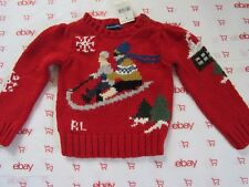 NWT RALPH LAUREN SWEATER COTTON /WOOL /OTHER, WINTER SKI, RED, SIZE 2 / 2T
