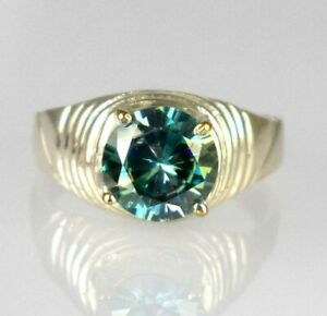 Men's Latest Collection 5.03 Ct Round Green Diamond Solitaire Men's Jewelry Ring