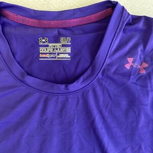 Under Armour Women Sz S Fitted Coupe Ajustee Heat Gear Long Sleeve Shirt Purple