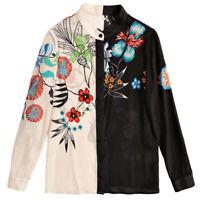 Women's Silk Colorblock Floral Printed Long Sleeve Blouse Ladies Fashion Shirts