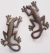 Haitian Recycled Metal Steel Drum Wall Art Leaping Lizard Gecko Set 105SM390