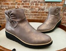 Clarks Pewter Metallic Leather Sharon Salon Bow Comfort Ankle Boots New