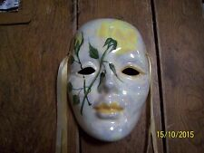 CERAMIC GLASS HAND PAINTED COSTUME MASK. HAND MADE IN NEW ORLEANS. MID 80s
