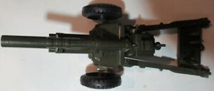 """Vintage 1950's Marx LAMAR 12"""" Green Firing Army Howitzer Cannon works w 3 shell"""