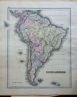 South America Brazil Peru Argentina Chile Venezuela Uruguay 1856 Colton map
