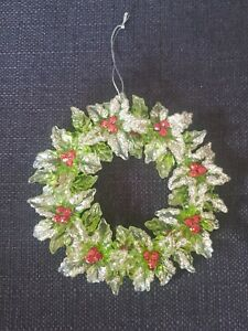 Glass Holly and Berries Double Sided Wreath