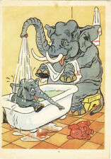 1956 Russian postcard SMALL ELEPHANT TAKES SHOWER WHILE IN BATH A.Bazhenov