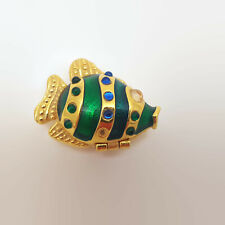 Mike and Ally Green Enamel & Gold Tone Fish Pill Box