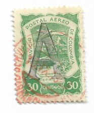SCADTA Consular 1922 Germany 30c Green Large 'A' Overprint. SG 7 CDS Used