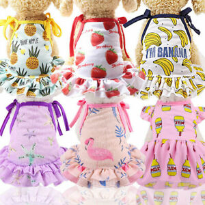 Cute Dog Dress Vest Clothes Fruit Print Skirt Vest Puppy Costume Cat Dress Coat