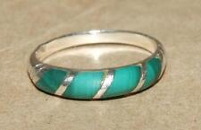 Vintage Etched Sterling Silver 925 Striped Inlaid Malachite Domed Band Ring sz 8